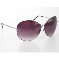 Oculos Redondo Grande Chic Cor Lilas Lente Preta Degrade