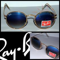 Ray-ban John Lennon Dourado Rb3447, Lente Azul Degradê