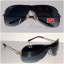 Óculos De Sol 3211 Máscara Prata Lentes Pretas Degradê
