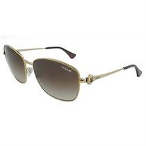 Óculos De Sol Retrô Feminino Vogue Dourado Com Marrom
