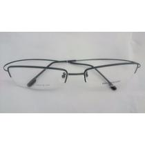 Armação P/ Óculos De Grau Meio Aro Em Titânio Titanium Preto
