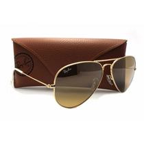 Oculos De Sol Aviador Rb3025 Dourado Com Lentes Marron