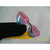 Òculos Feminino P/sol Lentes Rosa E Azul Formato Coração