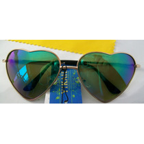 Óculos Formato Coração Lentes Azul Espelho Feminino