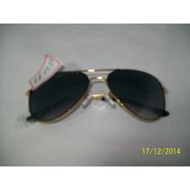 Óculos Sol Dourado Lentes Pretas Uv400 Tradicional Aviador