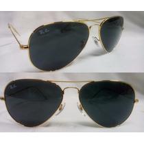 Oculos Ray Ban Aviador Original Lente Preta Armação Dourada