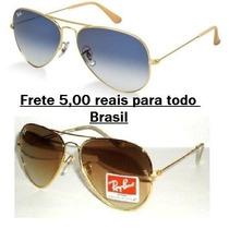 Oculos Rb Aviador Marrom Ou Azul 3025/3026 Frete Fixo 5,00