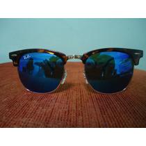 Ray Ban Clubmaster 3016 Tartaruga Azul Escuro Espelhado