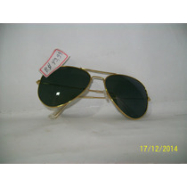 Oculos De Sol Aviador M Tradicional Dourado Lentes Verdes