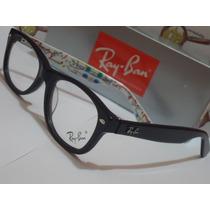 Armação Oculos Grau Rb5228 Metro Preta E Branca Ray-ban