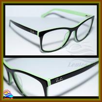 Armação Óculos Grau Wayfarer 3615 Preto E Verde Envio Em 24h