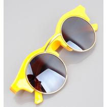 Óculos De Sol Amarelo Clubmaster Grande Redondo Pin Up Retrô