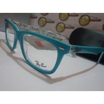 Armação Oculos Grau Rb5228 Wayfarer Azul Bebê Branco Ray-ban