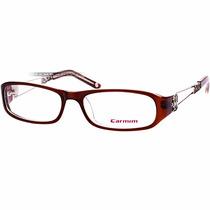 Óculos Feminino Carmim Grau Armação Marrom Prata Dragão Novo
