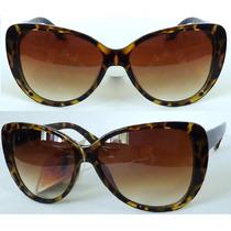 Óculos De Sol Gatinha Orig.berrini Uv400 Cateye Tartaruga N1