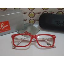 Armação Oculos Grau Rb5228 Wayfarer Vermelho Branco Rayban