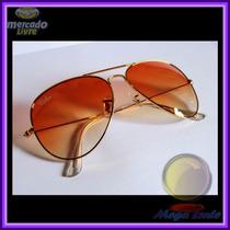 Óculos Aviador Aviator 3025 Dourado Lente Laranja Degradê
