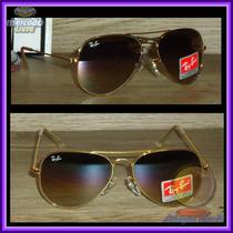 Óculos Aviador Aviator 3025 Dourado Lente Marrom Degradê