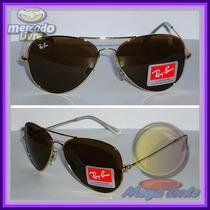 Óculos Aviador Aviator 3026 G Dourado Lente Marrom