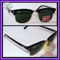 Óculos Clubmaster 3016 Preto Lentes Escuras Aro Dourado