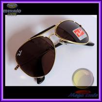 Óculos Caçador Aviador 3422q Gold Lente Marrom Couro Preto