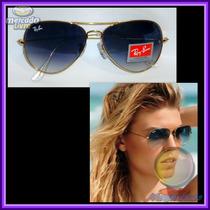 Óculos 3026 G Aviador Dourado, Lente Azul Degradê