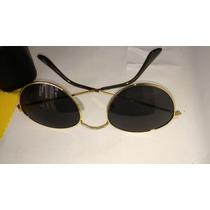 Óculos Musico Redondos Armaçao Metal Dourado Lentes Cinza Td