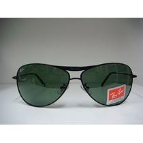 Óculos De Sol 8015 Armação Preta Lente Verde