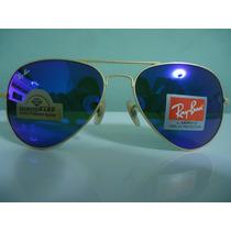 Oculos De Sol 3025 Dourado Lente Azul Escuro Espelhado