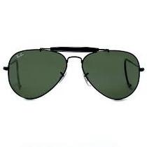Óculos Sol Ray Ban 3028 Armação Preta Lente Verde Com Mola