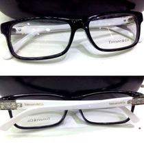 Armação Acetato Óculos Grau Tf8006 Strass Feminino Preto Bco