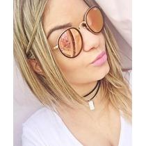 Óculos De Sol Rayban Round Dobrável Rosa Espelhado Original