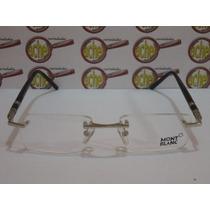 Armação Óculos Grau Mont Blanc Mb89 Prata + Estojo + Flanela