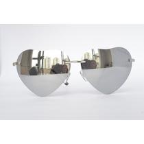 Óculos Coração Moda Lindo Prata Espelhado Presente