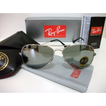 Óculos De Sol Rayban Aviador 3025 Prata Lente Espelhada