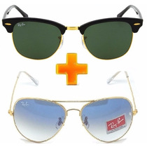 Óculos Ray Ban Clubmaster Ganhe 1 Justin Ou Erika