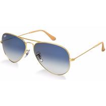 Oculos De Sol Aviador Rb3025 Dourado Com Lentes Azul Degrade