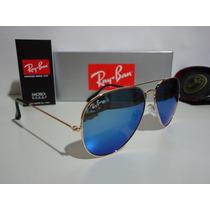 Óculos De Sol Ray Ban Aviador Rb3025 Azul Espelhado Cristal