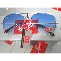 Ray Ban Aviador 3025 Prata Lente Azul Degradê Super Promoção