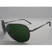 Óculos Aviador 8018 Grafite Lentes Verdes