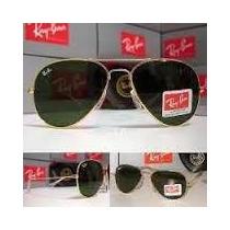 Óculos Aviador Lente Cristal Verde Armação Preta Ou Dourada
