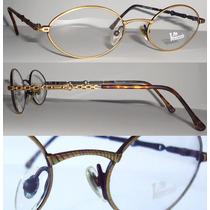 Armação Oval P/ Óculos De Grau Dourado Hastes Trabalhadas P.