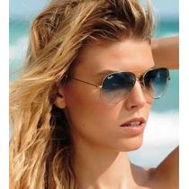 Óculos Ray Ban Aviador 100% Original Degradê Azul Promoção