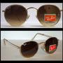 Óculos Jonh Lennon 3447 Dourado Lentes Marrom Degrade