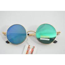 Óculos Espelhado Redondo Verde Azul Lindo Moda B86
