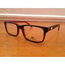 Armação De Óculos Lacoste Acetato Preto Com Vermelho