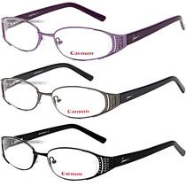 Óculos Grau Carmim Armação Preto Roxo Acetato Original