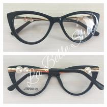 Armação Óculos De Grau Feminino Gatinha Pérola Ch3389
