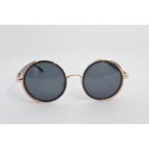 Óculos Lentes Redondas Proteção Lateral Couro B88