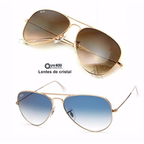 Óculos Ray Ban Aviador Rb3026 Marron Degrade Lente Cristal